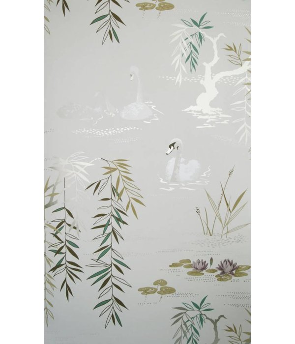 Nina-Campbell Swan Lake Wit En Goud NCW4020-03 Behang