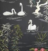 Nina-Campbell Swan Lake Zwart En Goud Wallpaper
