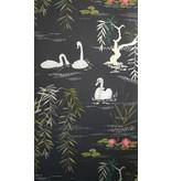 Nina-Campbell Swan Lake Zwart En Goud NCW4020-04 Behang