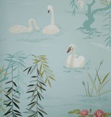 Nina-Campbell Swan Lake Lichtblauw Wallpaper