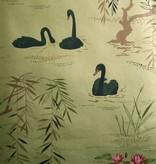 Nina-Campbell Swan Lake Goud En Zwart NCW4020-07 Behang