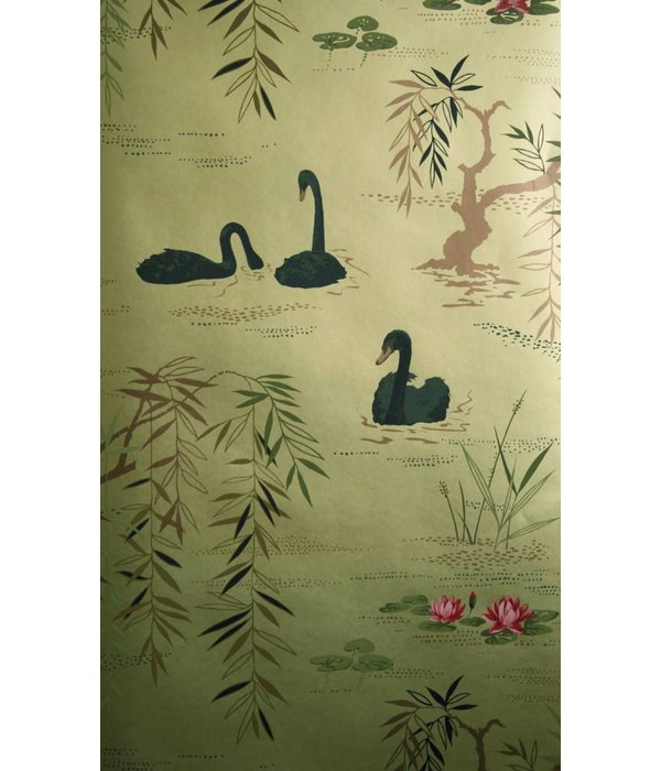 Nina-Campbell Swan Lake Goud En Zwart Wallpaper