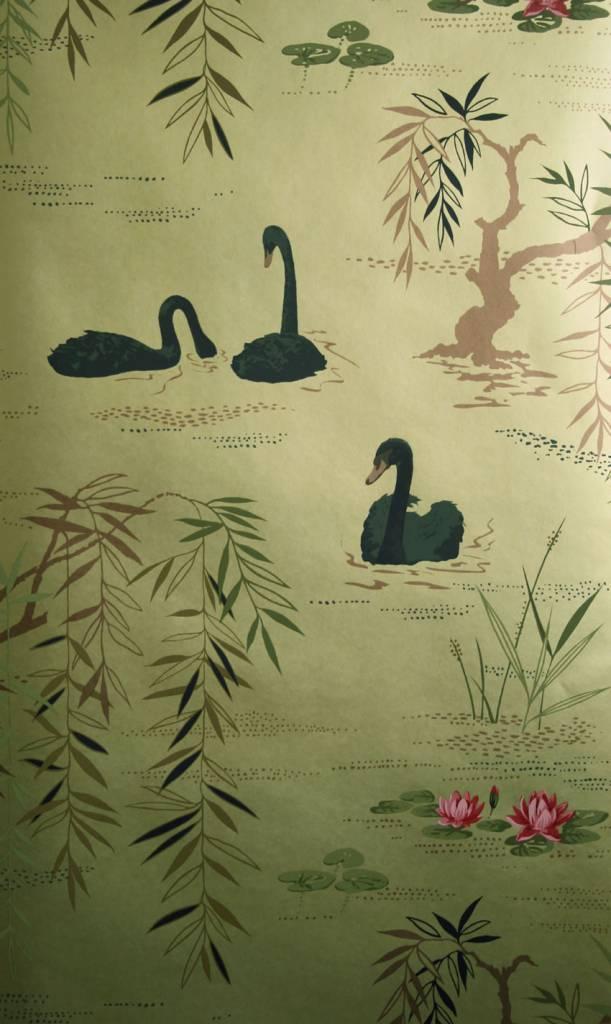 Swan lake goud en zwart ncw4020 07 de mooiste muren - Behang zwart en goud ...