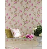Nina-Campbell Orchard Blossom Lichtblauw En Roze NCW4027-02 Behang