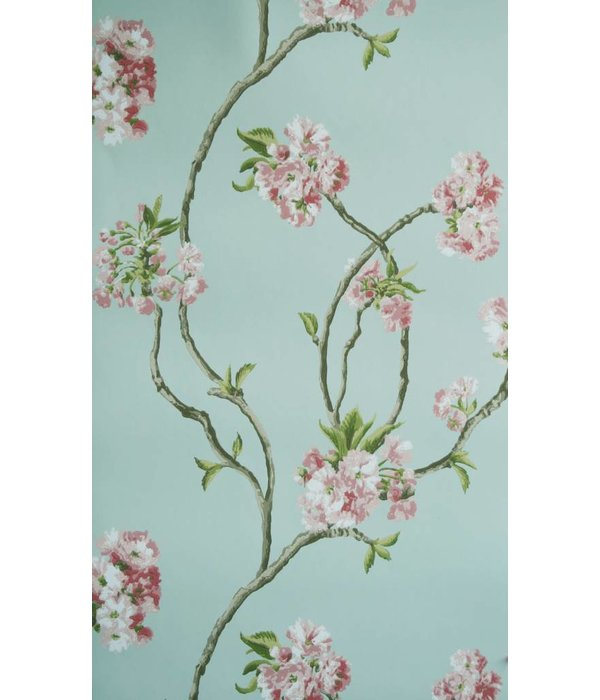 Nina-Campbell Orchard Blossom Lichtblauw En Roze Wallpaper