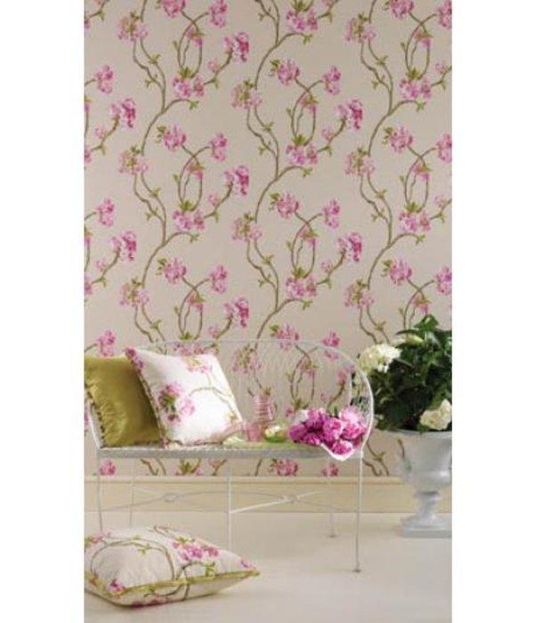 Nina-Campbell Orchard Blossom Zilver En Grijs Wallpaper