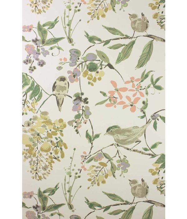 Nina-Campbell Penglai Coral/Lavender Wallpaper
