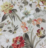 Nina-Campbell Rosslyn Charcoal/Coral Wallpaper