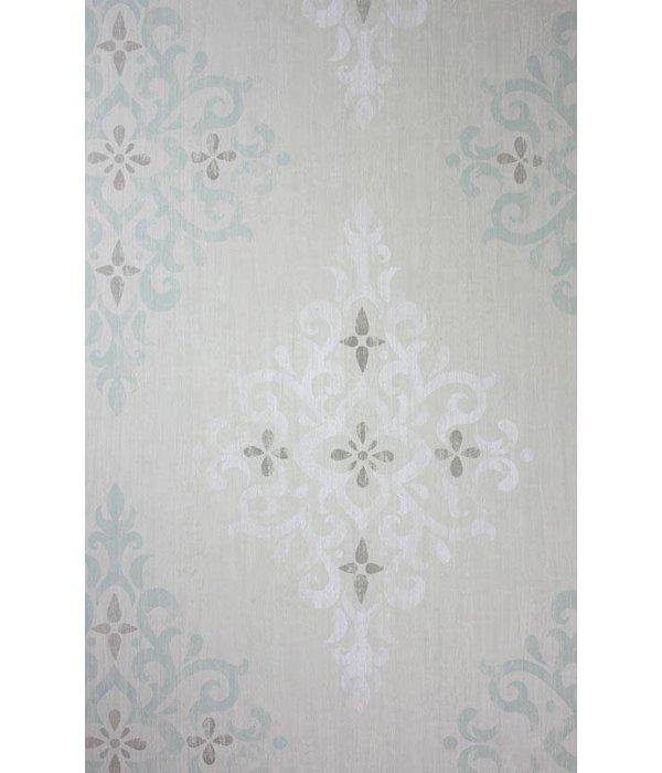 Nina-Campbell Holmwood Aqua/White NCW4120-01 Behang