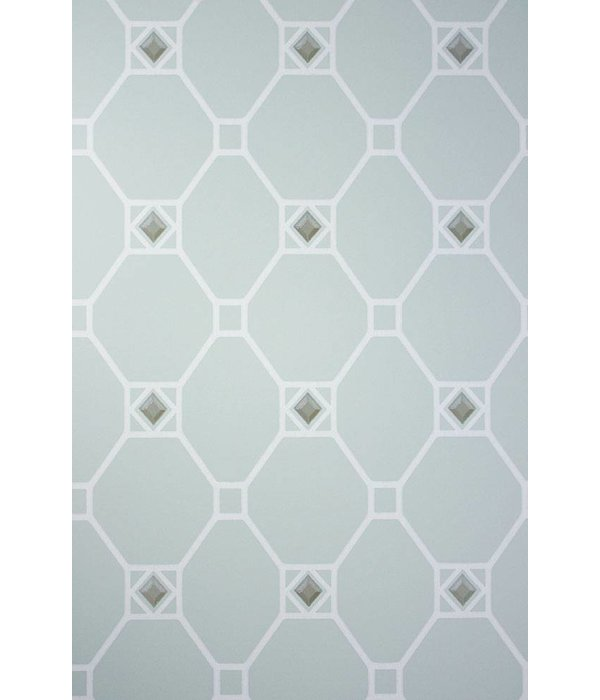 Nina-Campbell Huntly Aqua/Ivory/Gilver Wallpaper