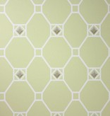 Nina-Campbell Huntly Pale Lime/White/Silver Wallpaper