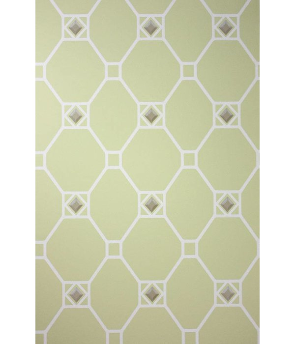 Nina-Campbell Huntly Pale Lime/White/Silver NCW4126-03 Behang