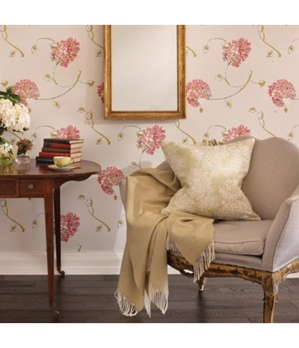 Nina-Campbell Corsham Coral Red Wallpaper