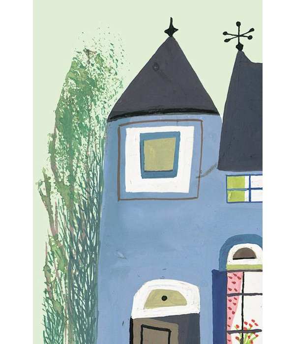 Kek-Amsterdam Bear with Blue House GREEN WS-042 Behang