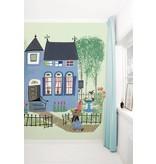 Kek-Amsterdam Bear with Blue House GREEN Wallpaper