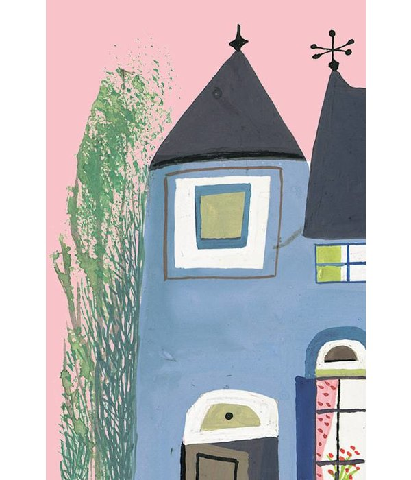 Kek-Amsterdam Bear with Blue House PINK WS-043 Behang