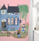 Kek-Amsterdam Bear with Blue House PINK Wallpaper