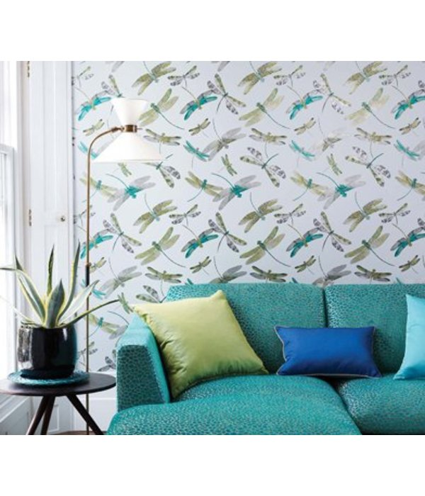 Matthew-Williamson Dragonfly Dance Blue/Jade/Silver Wallpaper