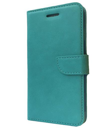 HEM Aquablauw boekje voor HTC One M9 met vakje voor pasjes, geld en fotovakje