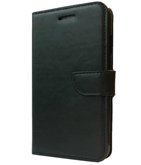 HEM Zwart boekje voor HTC One M7 met vakje voor pasjes, geld en fotovakje