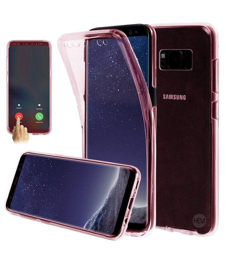 HEM Shockproof 360° Roze Transparant  Samsung S8 SM-G950 Siliconen Ultra Dun Gel TPU Hoesje Full Cover / Case