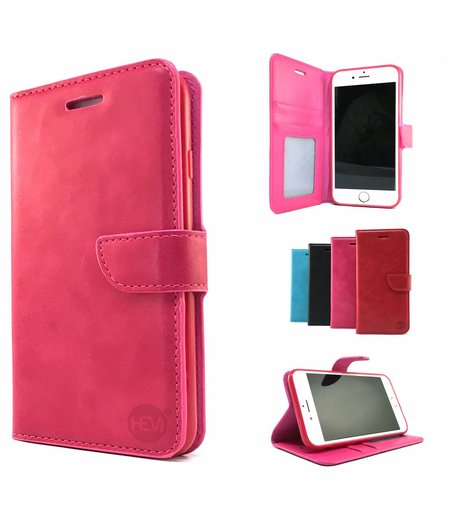 HEM Roze Wallet / Book Case / Boekhoesje / Telefoonhoesje / Hoesje iPhone 6 plus met vakje voor pasjes, geld en fotovakje