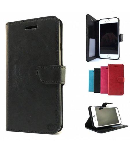 HEM Zwarte Wallet / Book Case / Boekhoesje/ Telefoonhoesje / Hoesje iPhone 5/5S/SE met vakje voor pasjes, geld en fotovakje