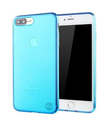HEM iPhone 8 Plus blauw siliconenhoesje transparant siliconenhoesje / Siliconen Gel TPU / Back Cover / Hoesje Iphone 8 Plus blauw doorzichtig
