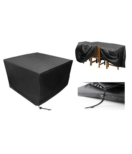 HOC Beschermhoes Tuinmeubelen Zwart Loungeset 200x160x70  ( l x b x h ) Hoogwaardige kwaliteit  / Waterproof hoes tuinmeubelen
