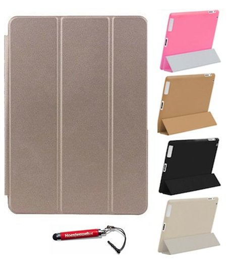 HEM iPad Air 2  Smart Cover goud / Vouw hoesjes Apple iPad Air 2 / Vouw hoesje iPad Air  2  / Inclusief handige uitschuifbare Hoesjesweb Stylus Pen