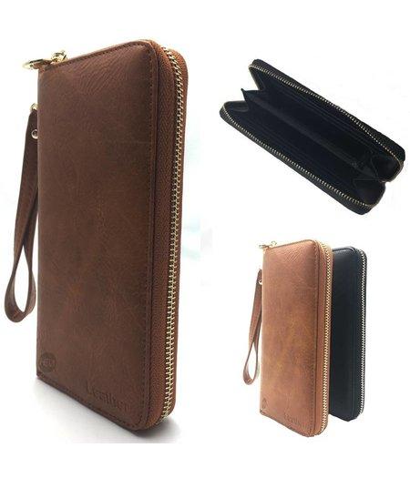 HEM Bruin Lederen vintage telefoon- portemonnee / telefoon hoes met vakjes voor 12 pasjes en kleingeldrits met polsbandje