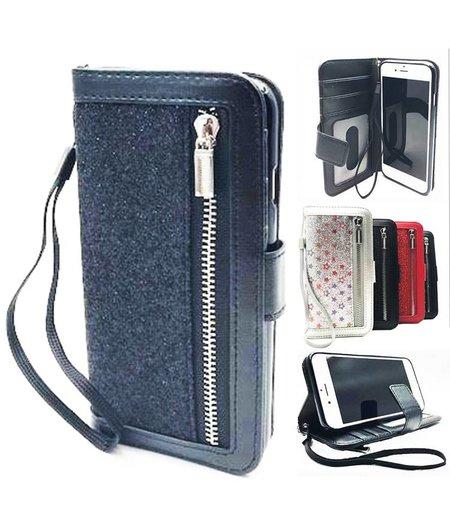 HEM iphone 6/6S Plus Zwarte Glitter Wallet / Book Case / Boekhoesje/ Telefoonhoesje met rits en hoesjeswebstylus