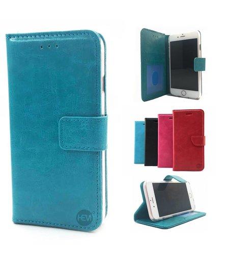HEM Aquablauwe Wallet / Book Case / Boekhoesje Huawei P20 met vakje voor pasjes, geld en fotovakje