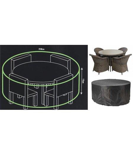 HOC Beschermhoes Ronde Tuinset Zwart 180x115 (diameter x hoogte)  Hoogwaardige kwaliteit  / Waterproof hoes / Ronde tuinsethoes