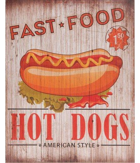 HOC Wandbord retro  / Muurplaat Vintage / Reclamebord  Hot Dogs American Style