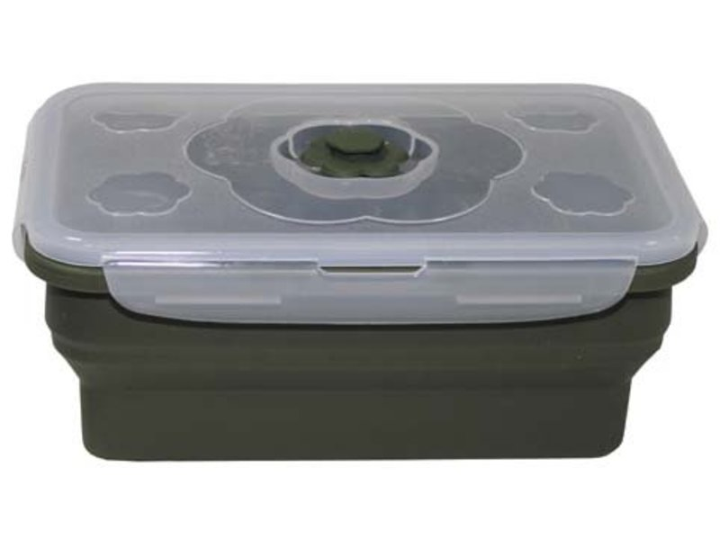 MFH Lunch box, inklapbaar, olijfolie, 1 l, met deksel, siliconen - groot
