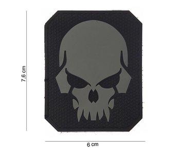 101Inc. PVC Patch  Pirate Skull Grijs