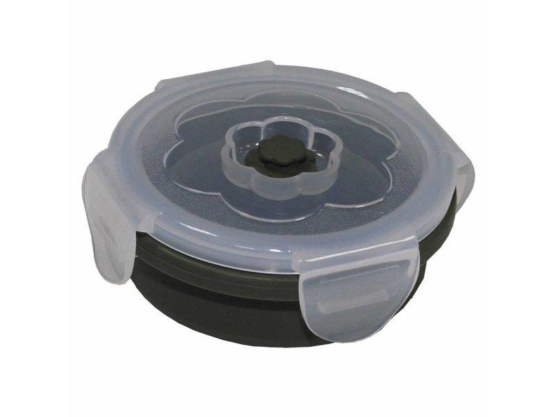 MFH Lunch box, inklapbaar, 240 ml, olijf, met deksel, siliconen