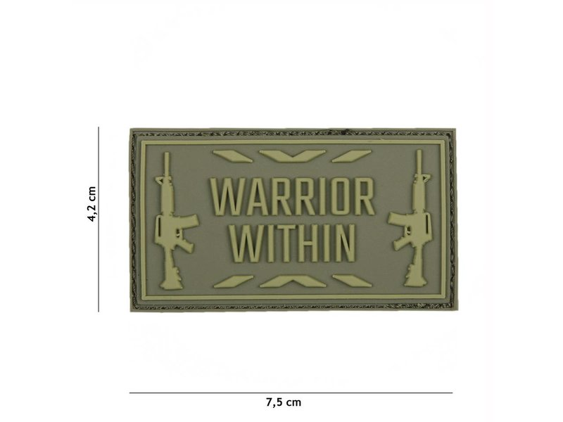"""3D/PVC Patch """"Warrior Within"""" Olive Drab (OD)"""
