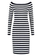 Jolie Off Shoulder Dress (Navy/Off White)