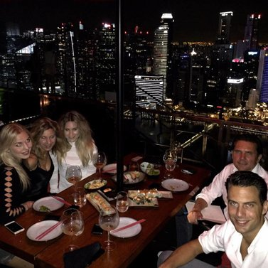 Last night in #Singapore with a part of our crew!  Love this view @celavisingapore #NIKKIE #sushi #dinner