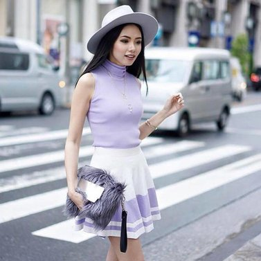 Spotted on the streets of Jakarta - Olivia Lazuardy - wearing our NIKKIE #jolie#top & #jane#skirt