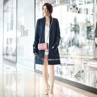 Spotted Celebrity Anastasia siantar wearing our #navy#NIKKIE #lori#coat Shop now @robinsonssg #Takashimaya #Singapore and @lafayettejkt #GaleriesLafayette #Jakarta
