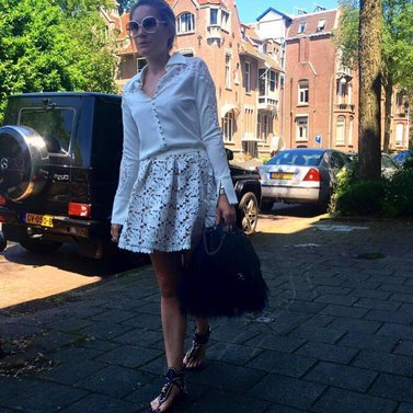Heading to RTL BLVD #rtlblvd #TV#show #Livvy #skirt #Lupita #blouse all #NIKKIE