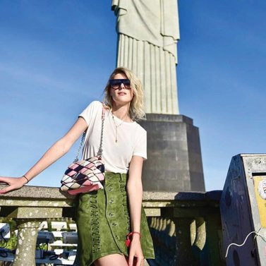 Spotted in Rio it-girl #sofievalkiers wearing our new green #NIKKIE #leigh#skirt