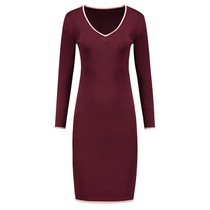 Jolie Contrast V-Neck Dress