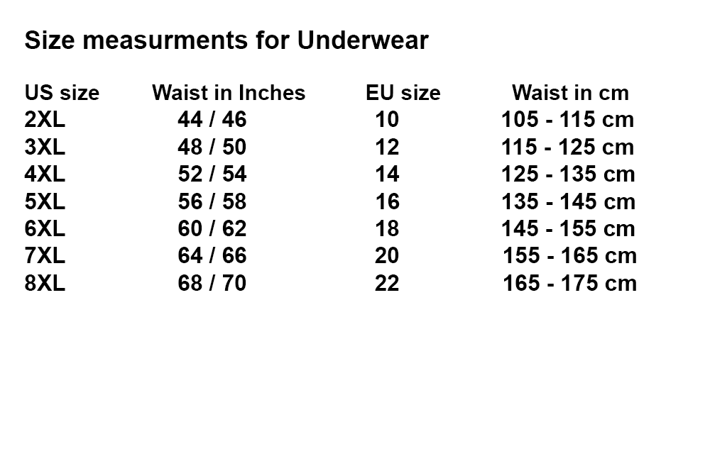 10XLShop Bottoms Underwear size chart