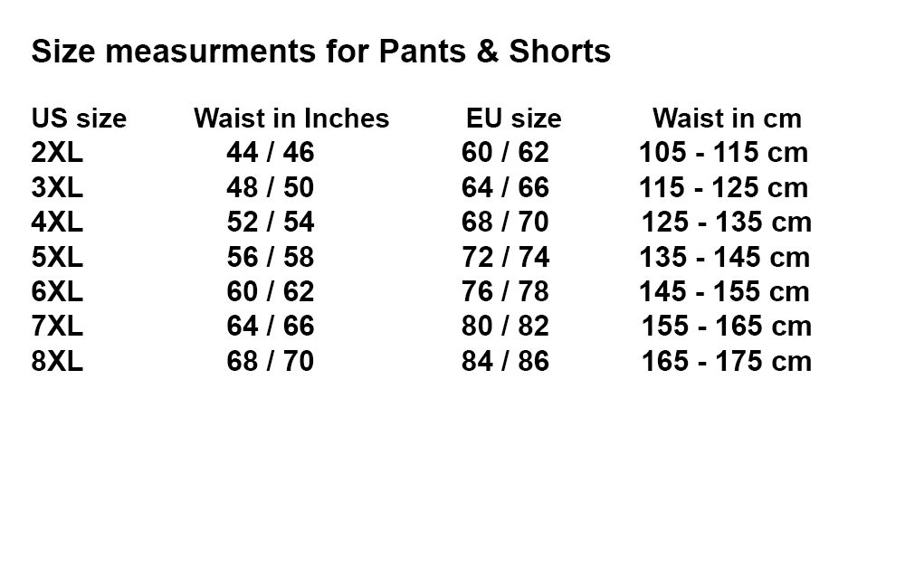 10XLShop Bottoms XL Size chart