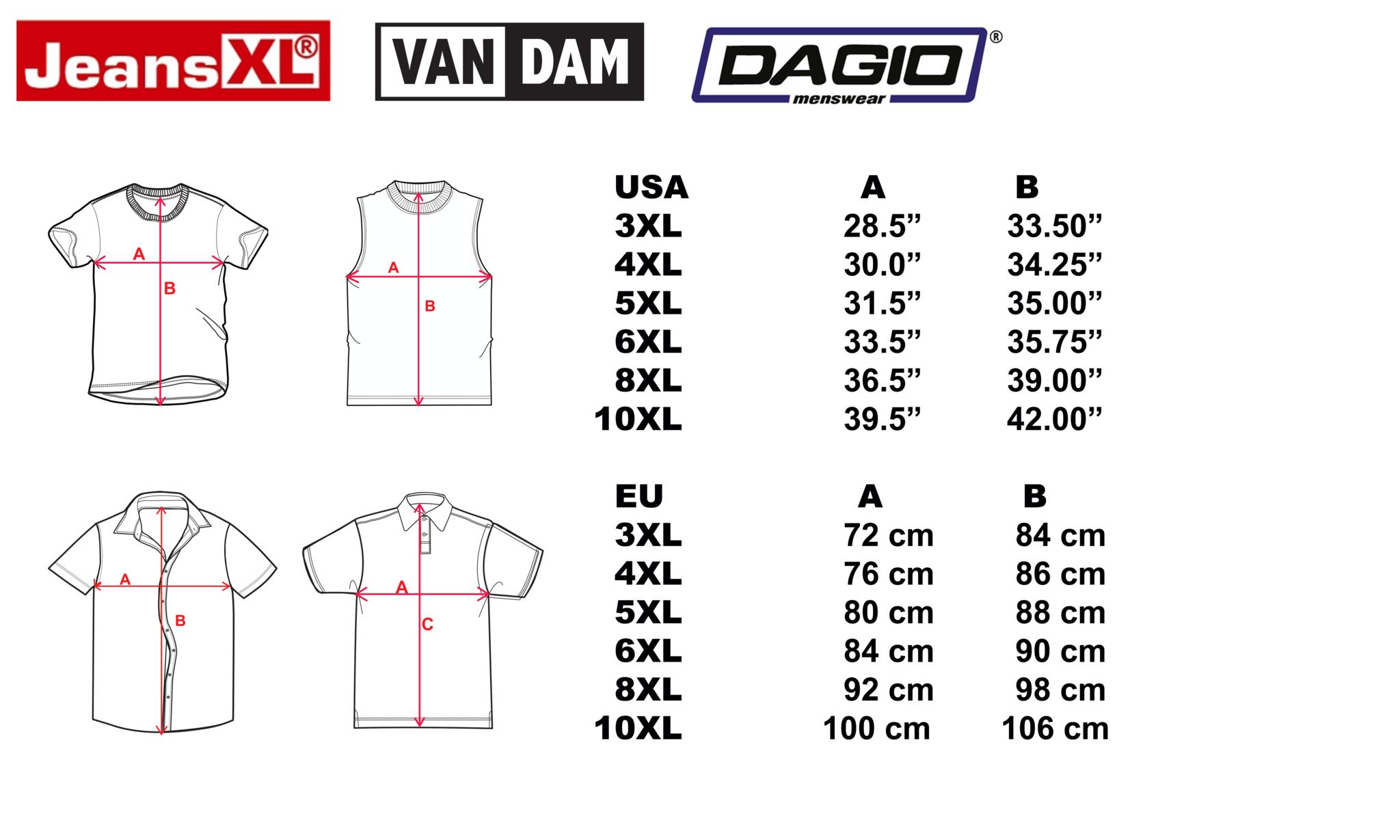 Size chart 10XL shop JeansXL