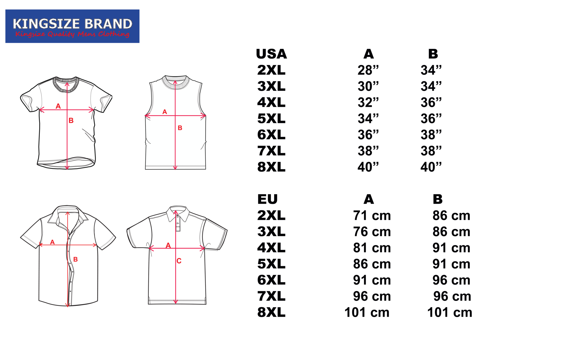 Size chart 10XL shop Kings Brans